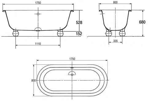 Чугунная ванна jacob delafon cleo / revival e2901 (неокрашенная)